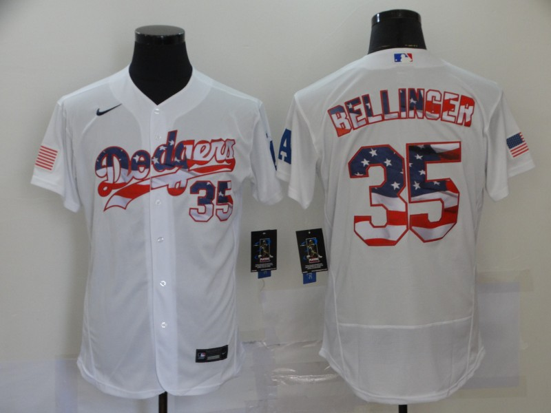 Dodgers 35 Cody Bellinger White USA Flag Fashion Nike Flexbase Jersey