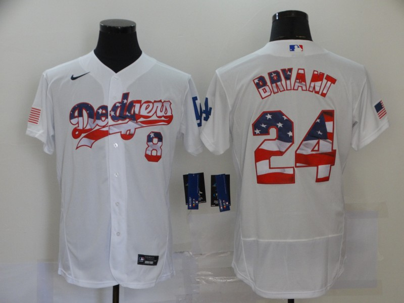 Dodgers 8 & 24 Kobe Bryant White USA Flag Fashion Nike Flexbase Jersey