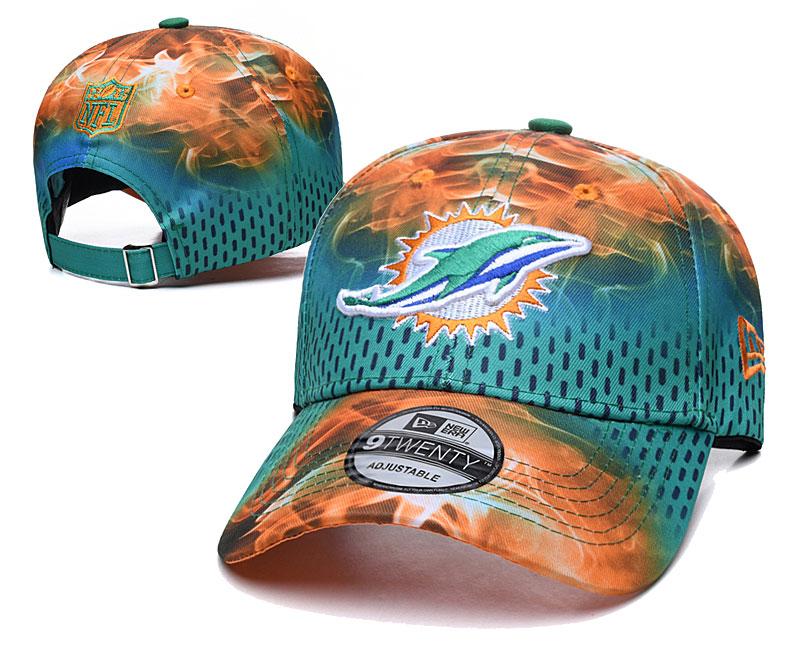 Dolphins Team Logo Aque Orange Peaked Adjustable Hat YD