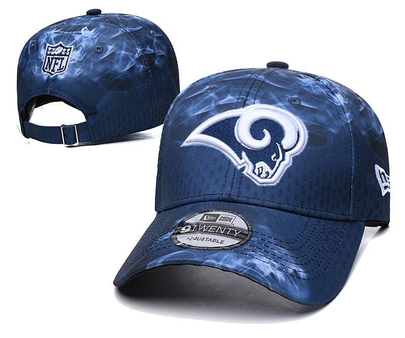 Rams Team Logo Navy Peaked Adjustable Hat YD