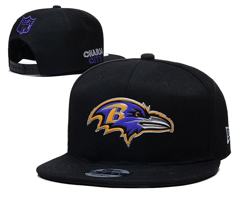 Ravens Team Logo Black Adjustable Hat YD