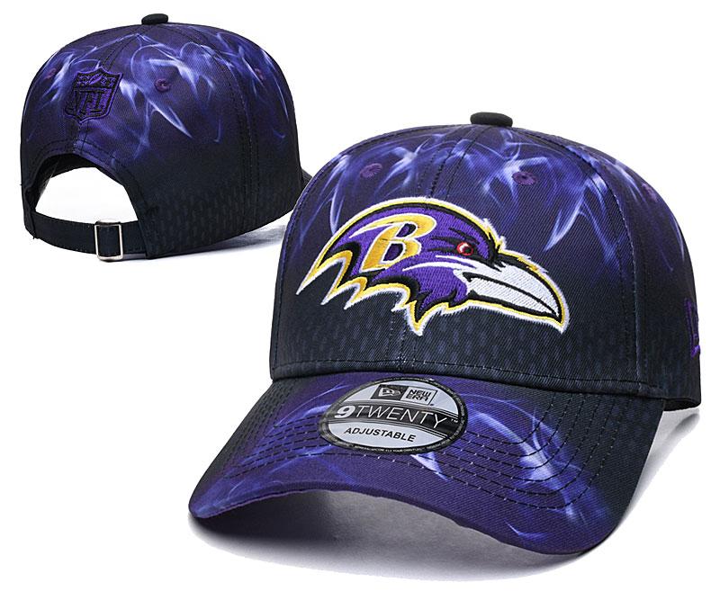 Ravens Team Logo Purple Black Peaked Adjustable Hat YD