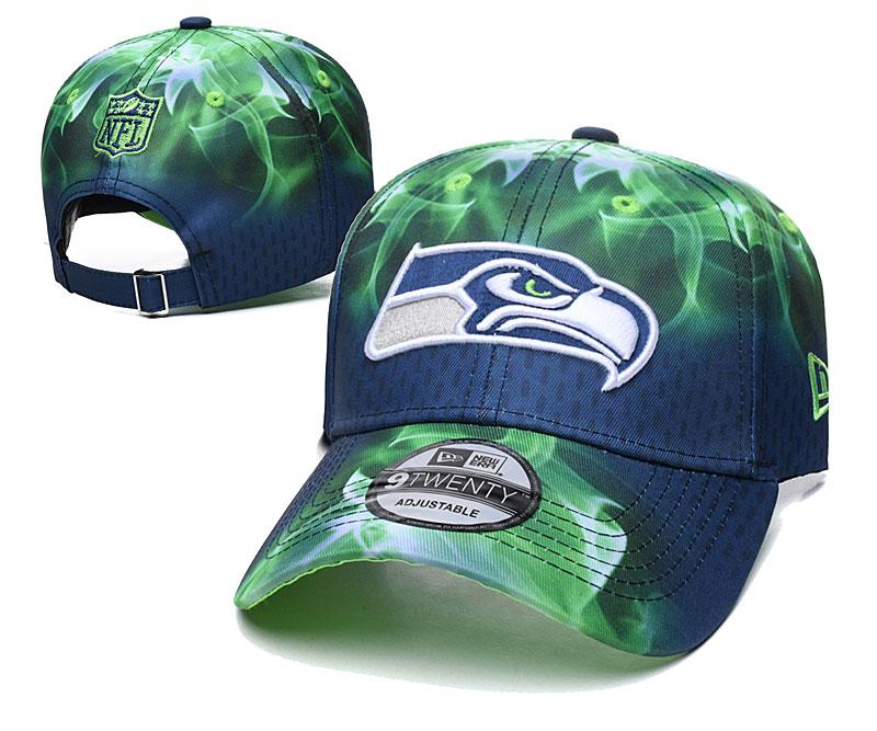 Seahawks Team Logo Green Navy Peaked Adjustable Hat YD