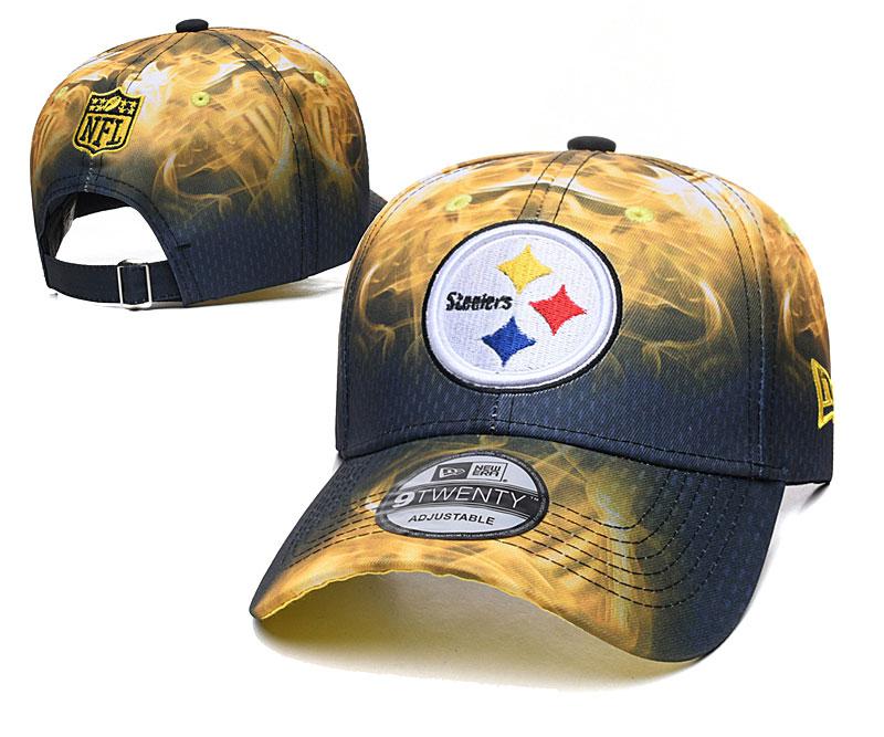 Steelers Team Logo Yellow Black Peaked Adjustable Hat YD