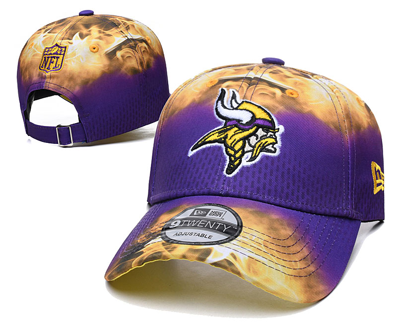 Vikings Team Logo Purple Yellow Peaked Adjustable Hat YD