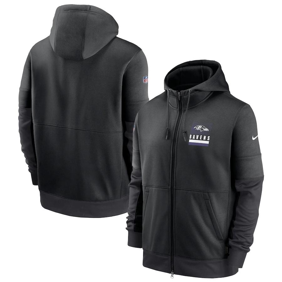 Men's Baltimore Ravens New 2020 Nike Gray Black Fan Gear Mascot Performance Full Zip Hoodie
