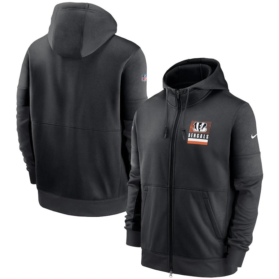 Men's Cincinnati Bengals New 2020 Nike Gray Black Fan Gear Mascot Performance Full Zip Hoodie