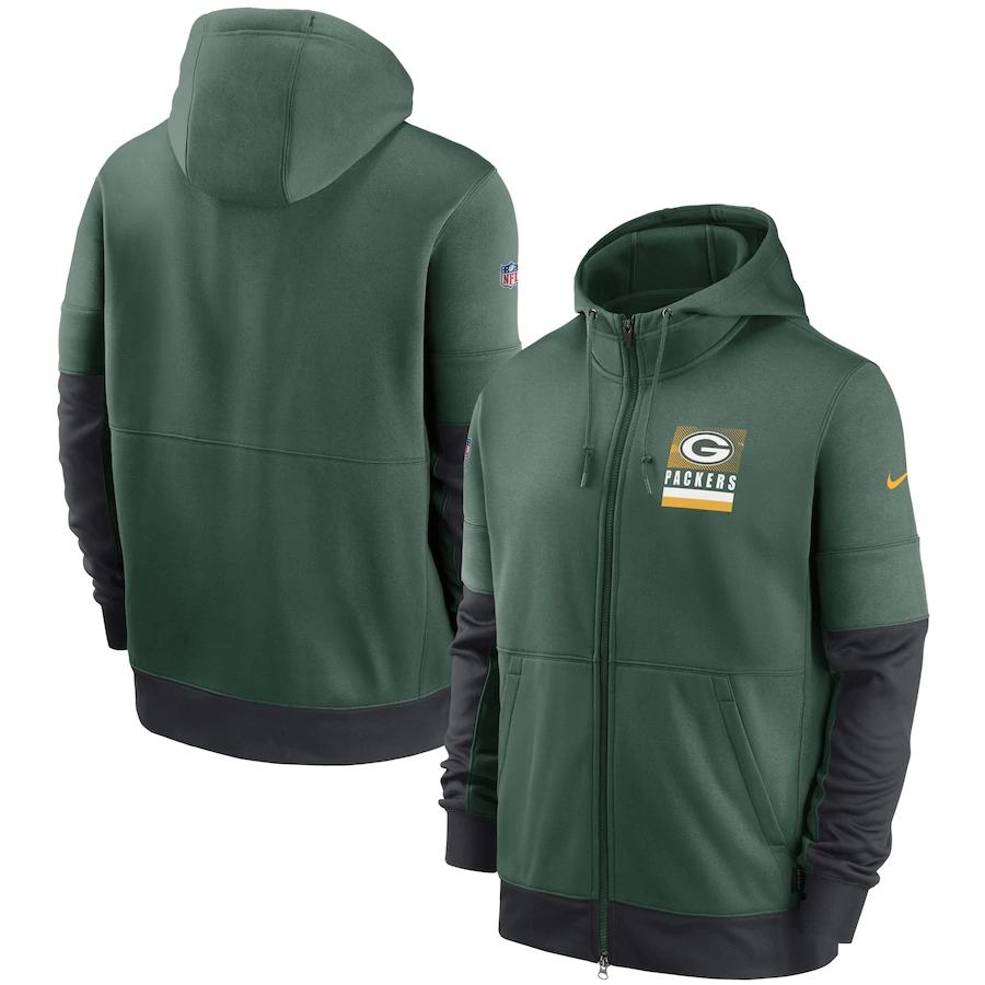 Men's Green Bay Packers New 2020 Nike Green Black Fan Gear Mascot Performance Full Zip Hoodie