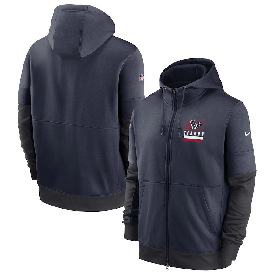 Men's Houston Texans New 2020 Nike Gray Black Fan Gear Mascot Performance Full Zip Hoodie