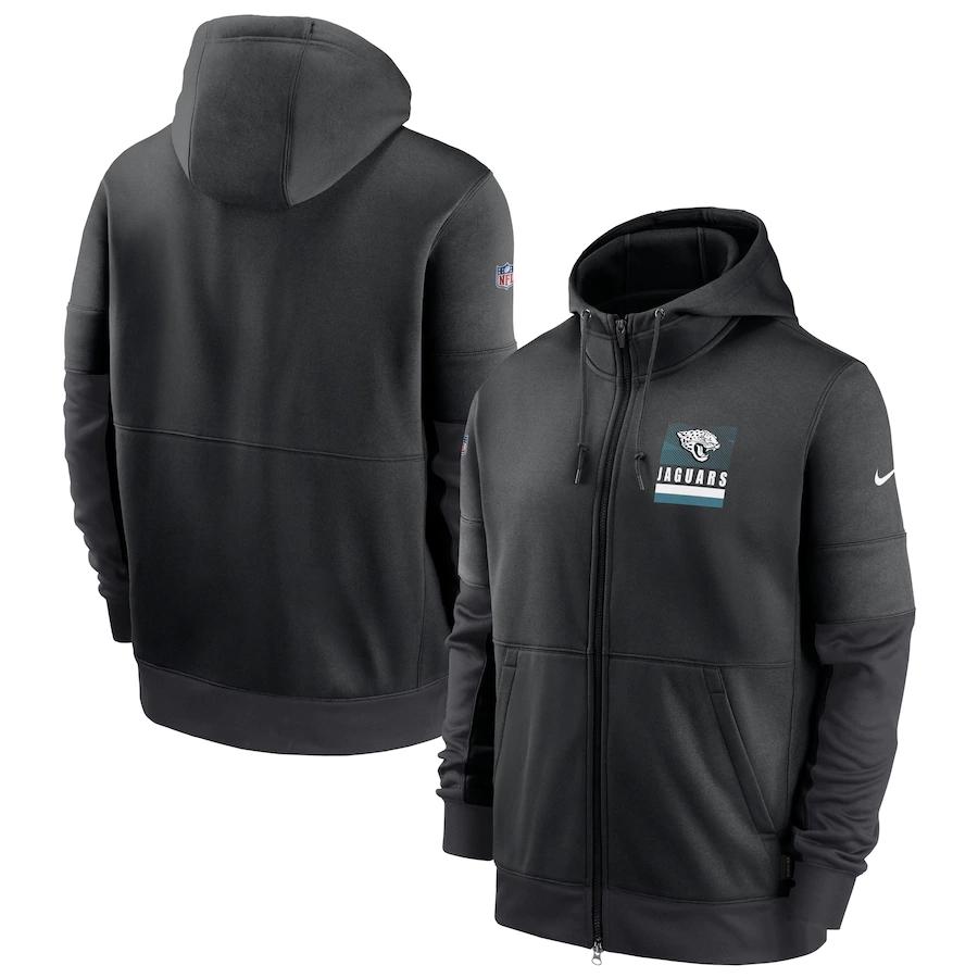 Men's Jacksonville Jaguars New 2020 Nike Gray Black Fan Gear Mascot Performance Full Zip Hoodie