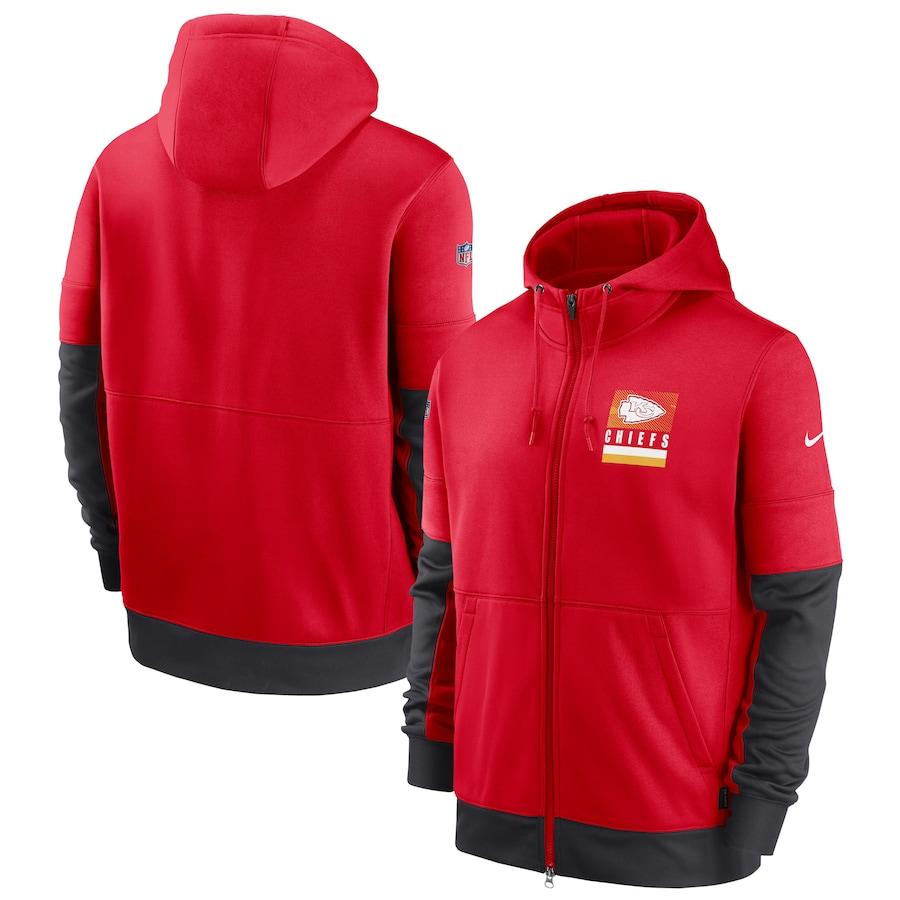 Men's Kansas City Chiefs New 2020 Nike Red Black Fan Gear Mascot Performance Full Zip Hoodie