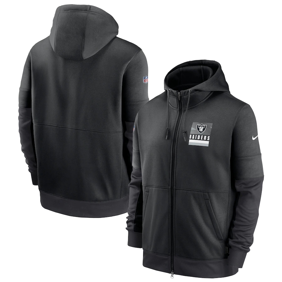 Men's Las Vegas Raiders New 2020 Nike Gray Black Fan Gear Mascot Performance Full Zip Hoodie