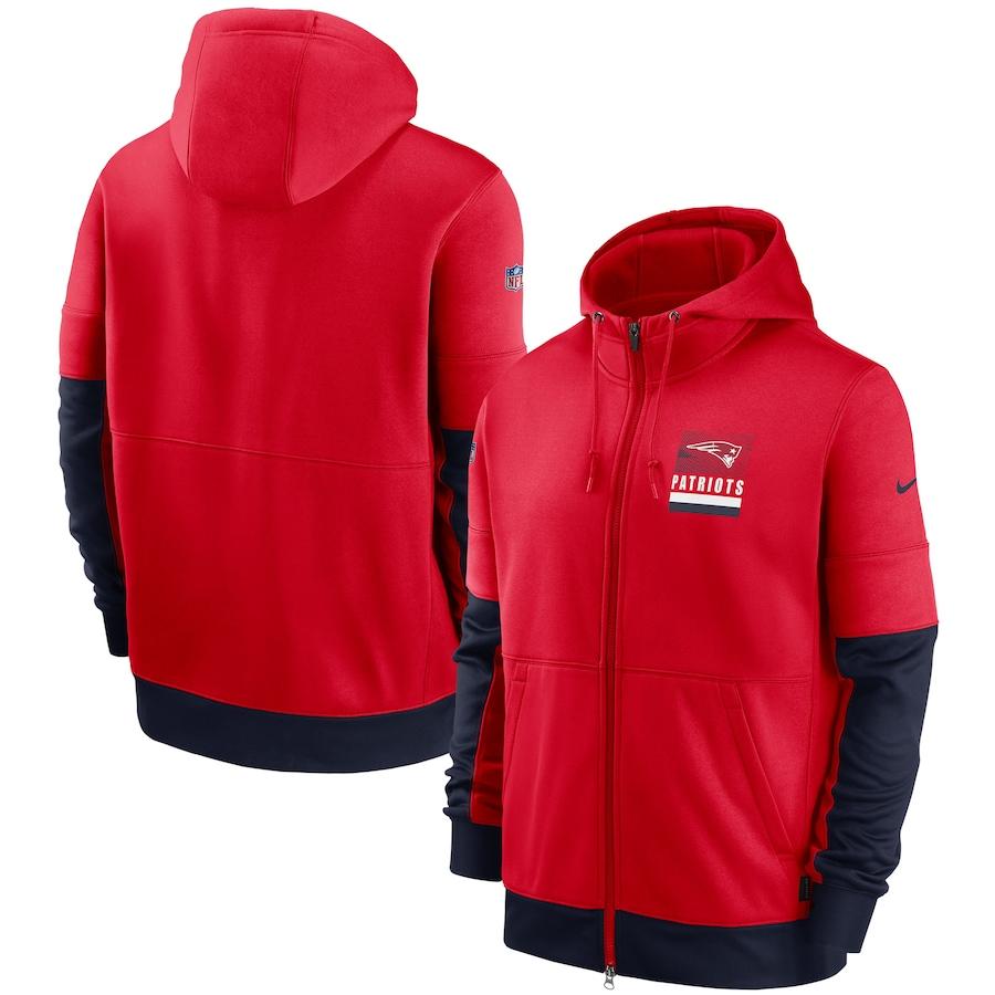 Men's New England Patriots New 2020 Nike Red Black Fan Gear Mascot Performance Full Zip Hoodie