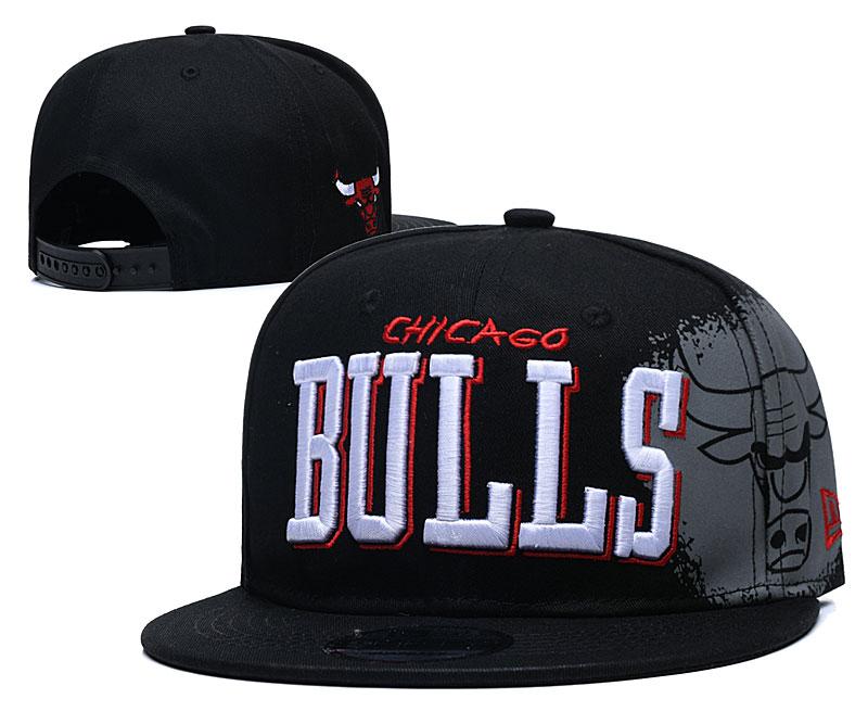 Bulls Team Logo Black Adjustable Hat YD