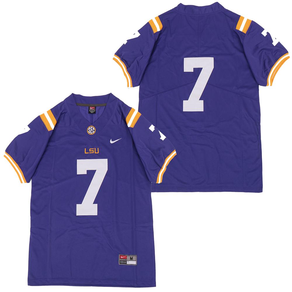 LSU Tigers #7 Purple Nike College Football Jersey