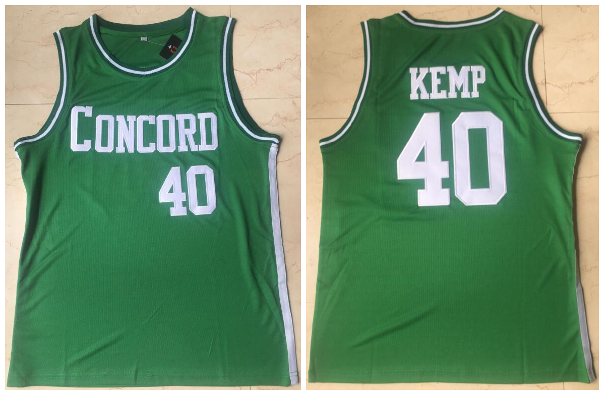 Concord Academy 40 Shawn Kemp Green High School Basketball Jersey