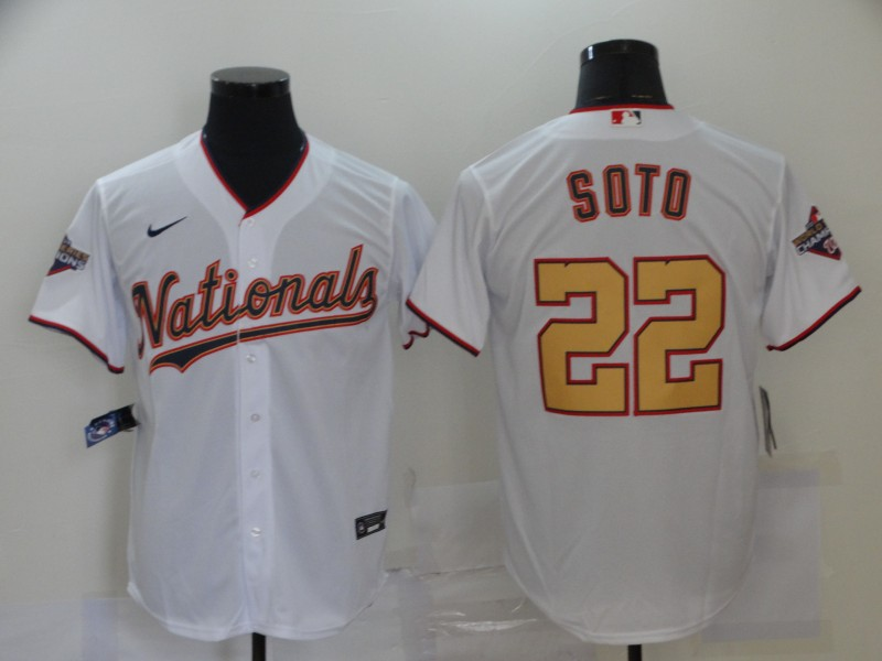Nationals 22 Juan Soto White Gold Nike 2020 Gold Program Cool Base Jersey