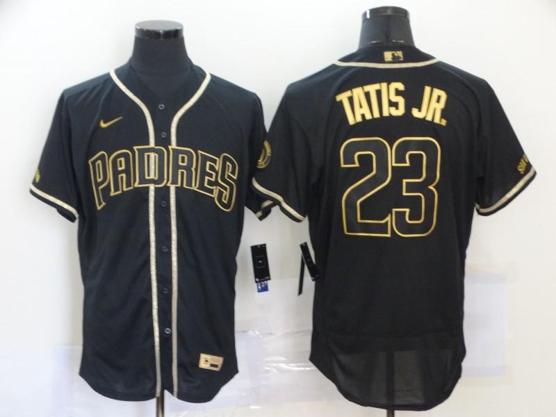 Padres 23 Fernando Tatis Jr. Black Gold Nike Flexbase Jersey