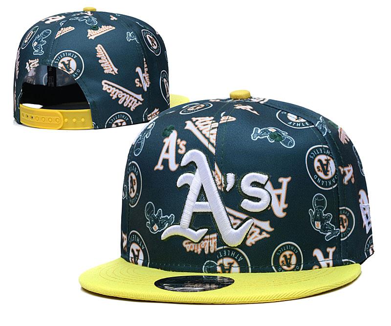 Athletics Team Logos Green Yellow Adjustable Hat TX