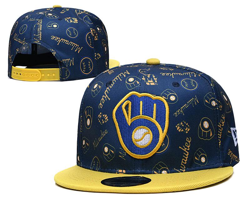 Brewers Team Logos Navy Yellow Adjustable Hat TX