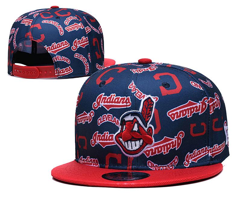 Indians Team Logos Navy Red Adjustable Hat TX