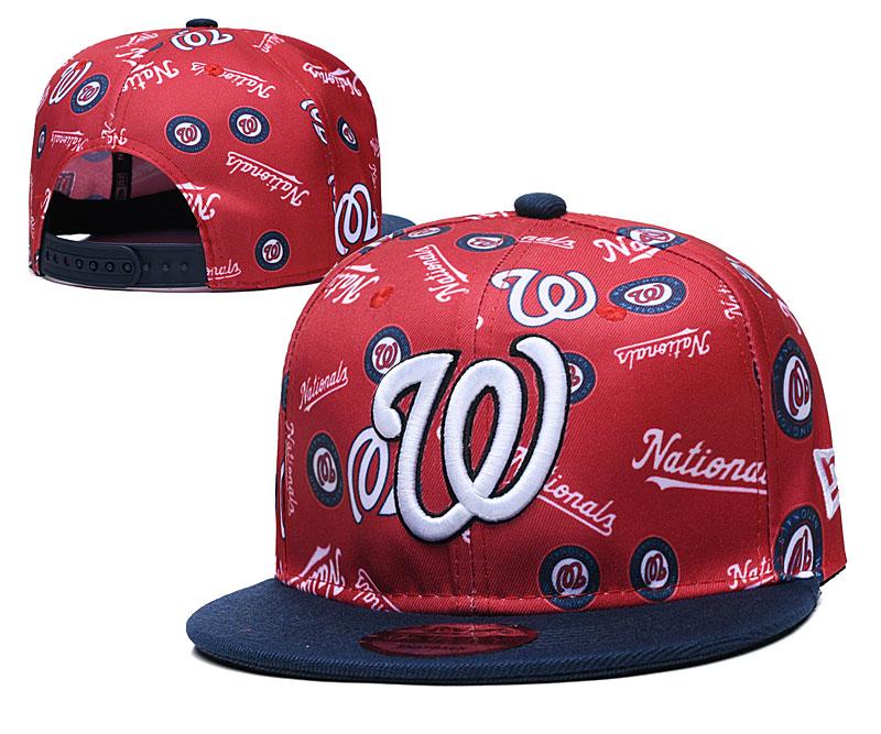 Nationals Team Logos Red Navy Adjustable Hat TX