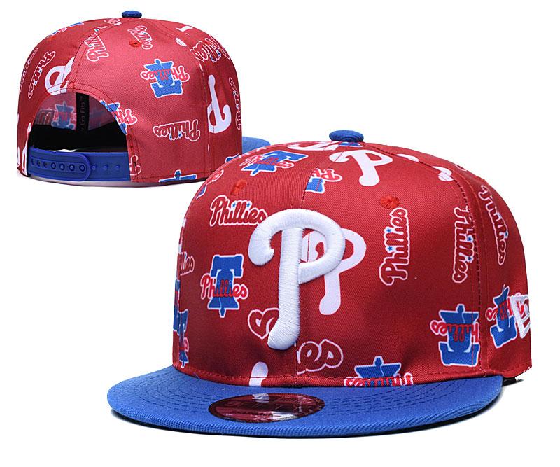 Phillies Team Logos Red Blue Adjustable Hat TX