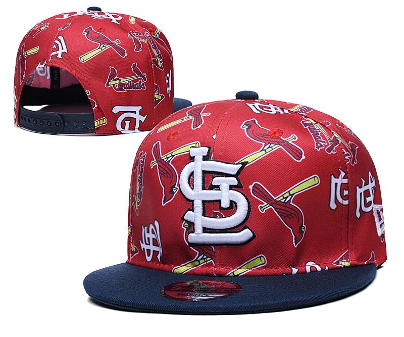 St. Louis Cardinals Team Logos Red Black Adjustable Hat TX