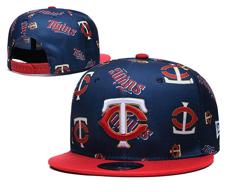 Twins Team Logos Navy Red Adjustable Hat TX