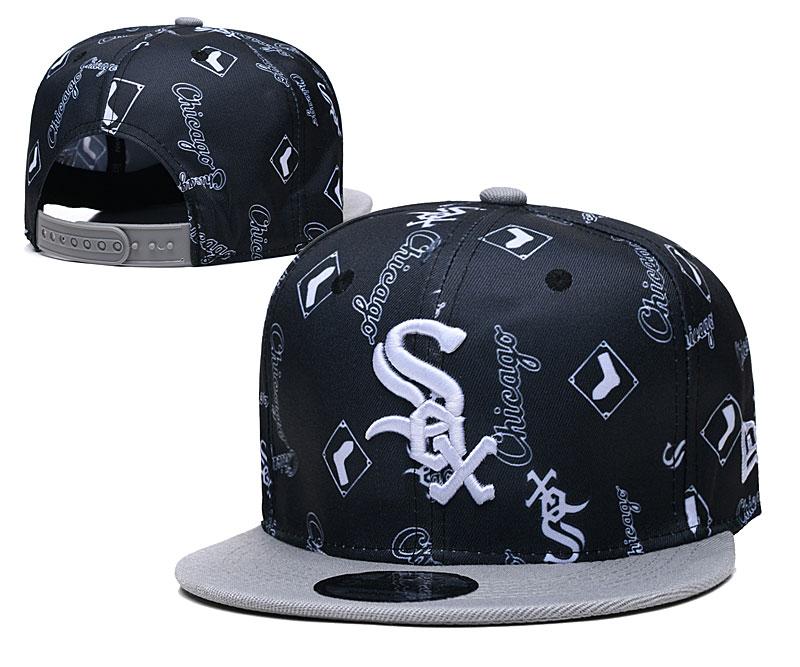 White Sox Team Logos Black Gray Adjustable Hat TX