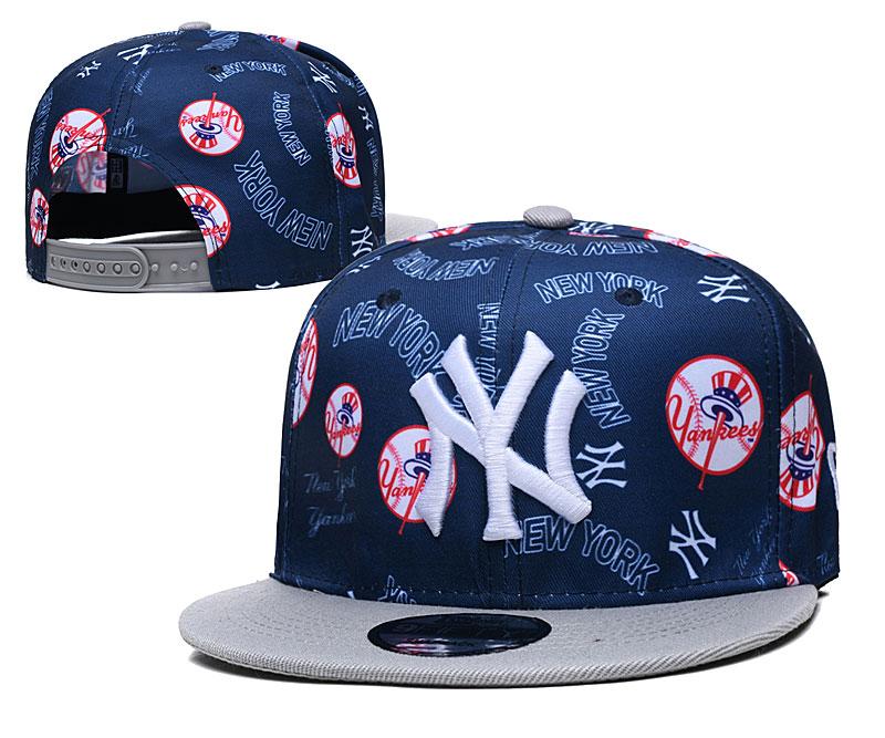 Yankees Team Logos Navy Gray Adjustable Hat TX