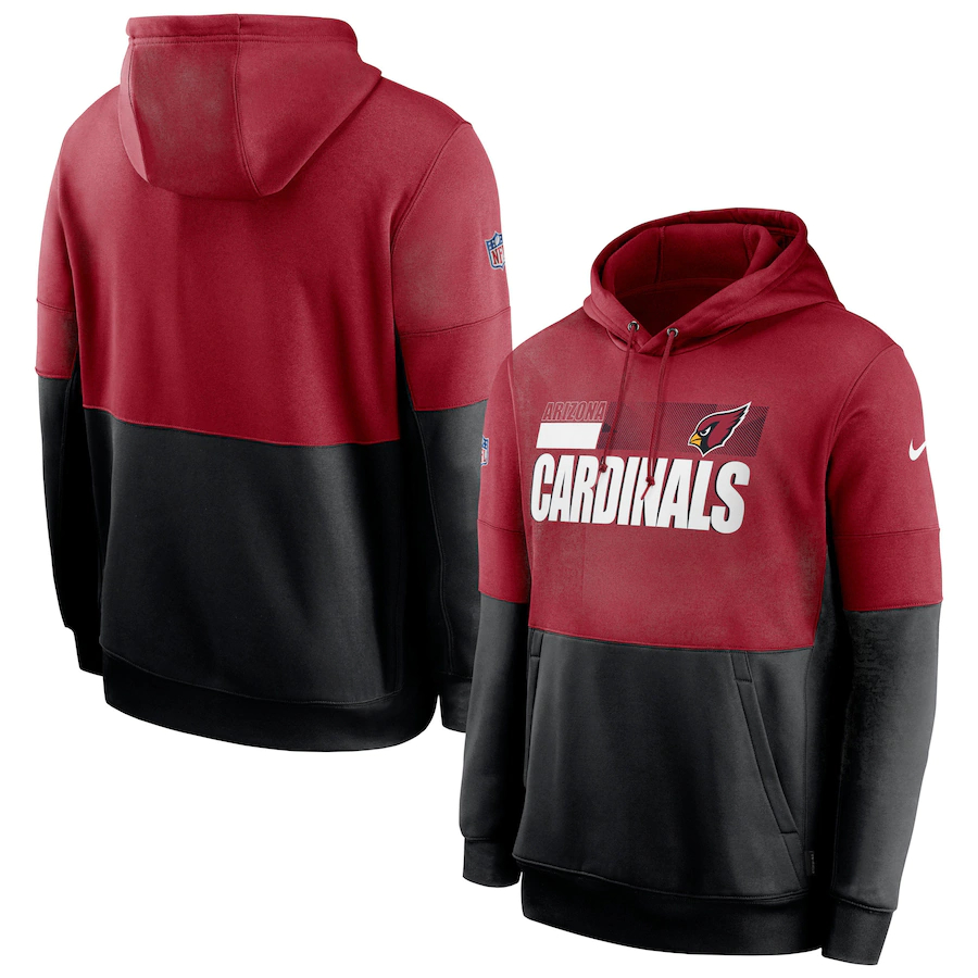 Men's Arizona Cardinals Nike Red Black Sideline Impact Lockup Performance Pullover Hoodie