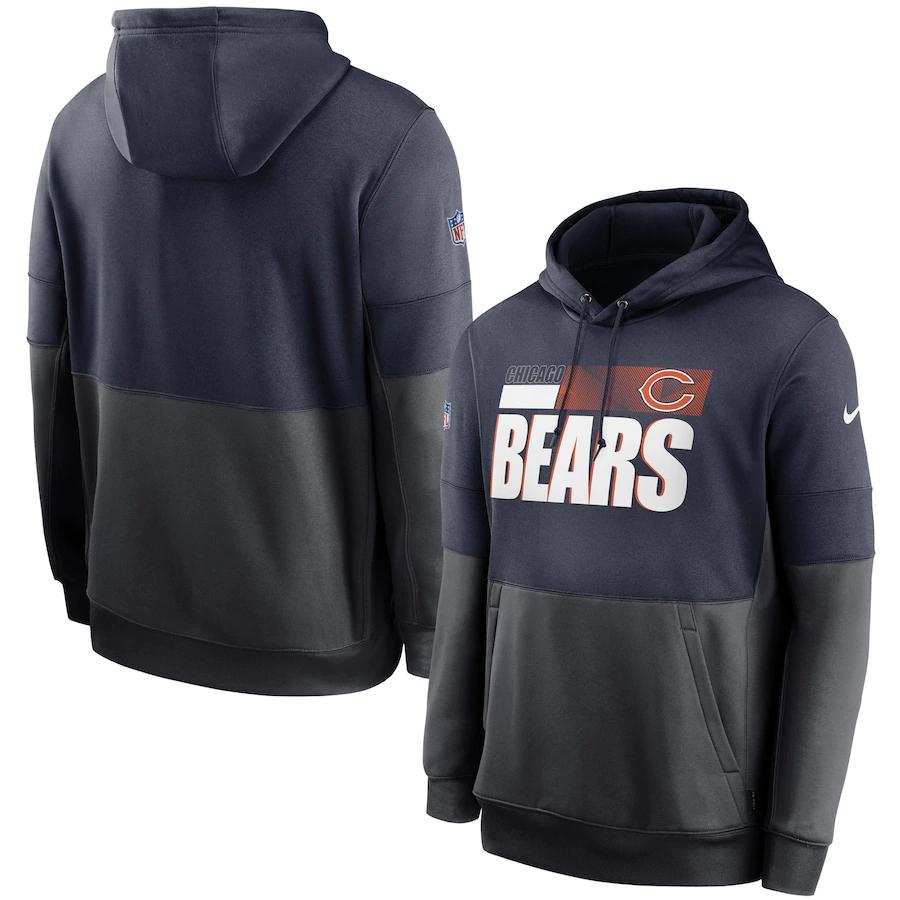 Men's Chicago Bears Nike Black Gray Sideline Impact Lockup Performance Pullover Hoodie