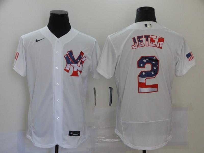 Yankees 2 Derek Jeter White USA Flag Fashion Nike Flexbase Jersey