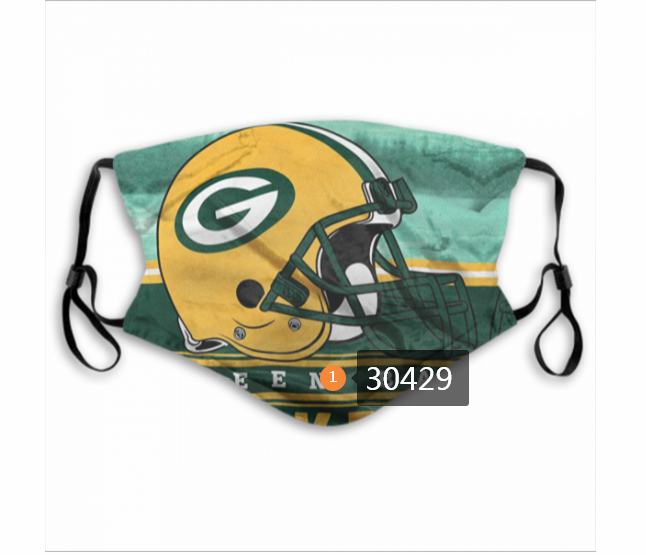 Green Bay Packers Team Face Mask Cover with Earloop 30429