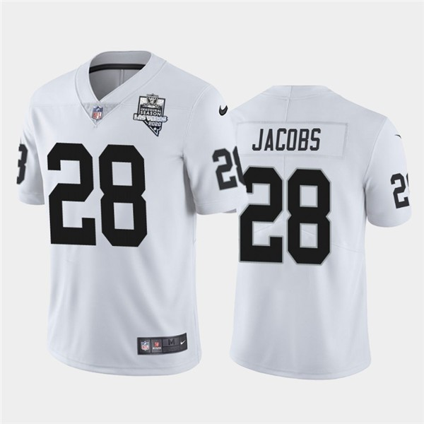 Nike Raiders 28 Josh Jacobs White 2020 Inaugural Season Vapor Untouchable Limited Jersey