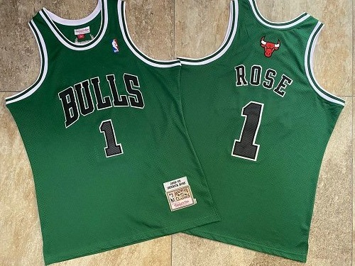 Bulls 1 Derrick Rose Green 2008-09 Hardwood Classics Jersey