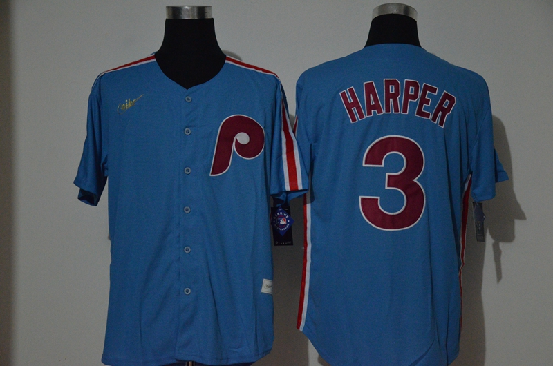 Phillies 3 Bryce Harper Light Blue 2020 Nike Cooperstown Collection Jersey