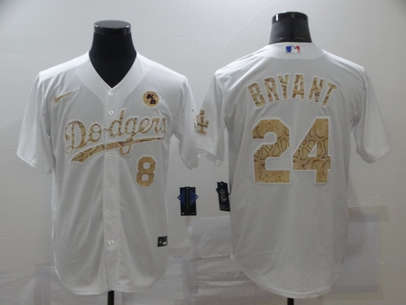 Dodgers 8 & 24 Kobe Bryant White Gold 2020 Nike KB Cool Base Jersey