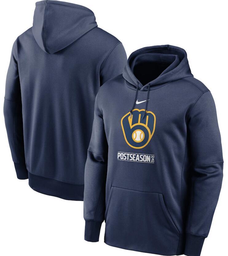 Men's Milwaukee Brewers Nike Navy 2020 Postseason Collection Pullover Hoodie