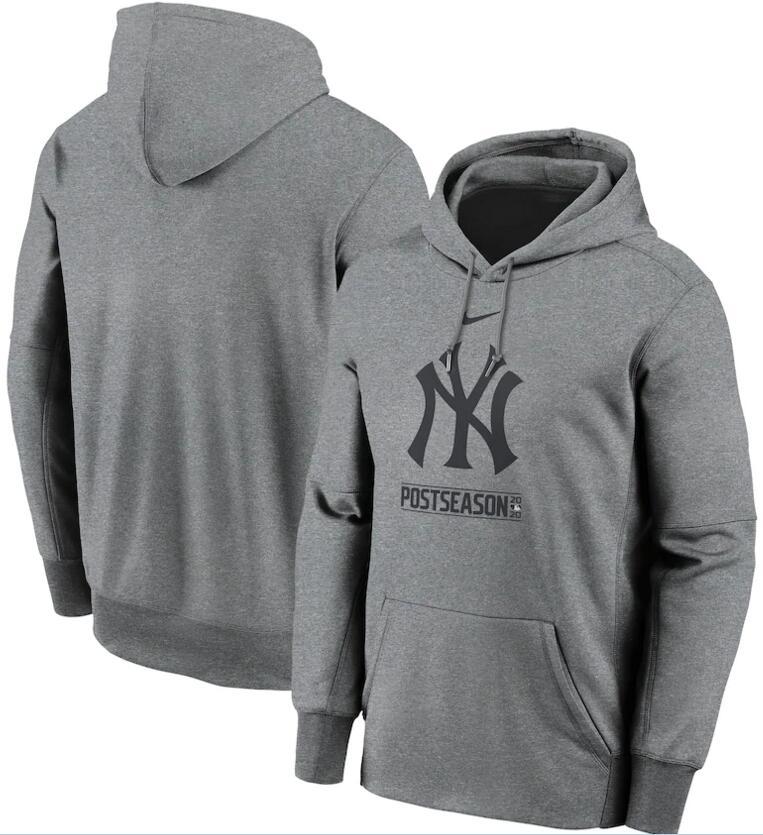 Men's New York Yankees Nike Gray 2020 Postseason Collection Pullover Hoodie