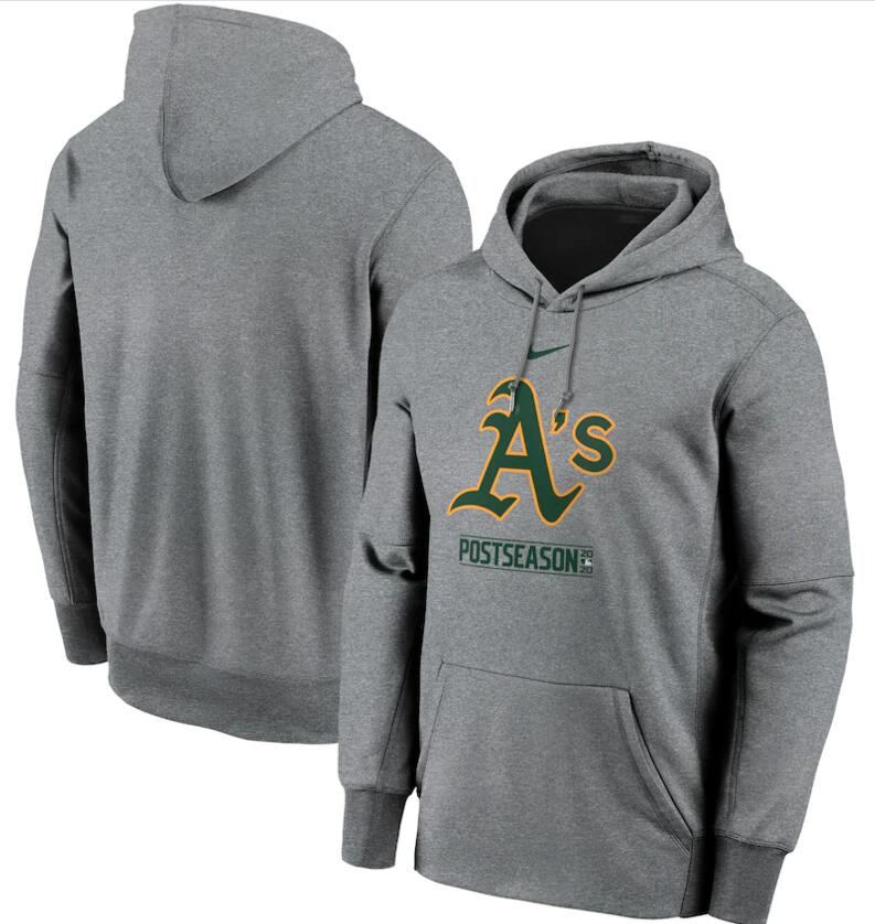Men's Oakland Athletics Nike Gray 2020 Postseason Collection Pullover Hoodie