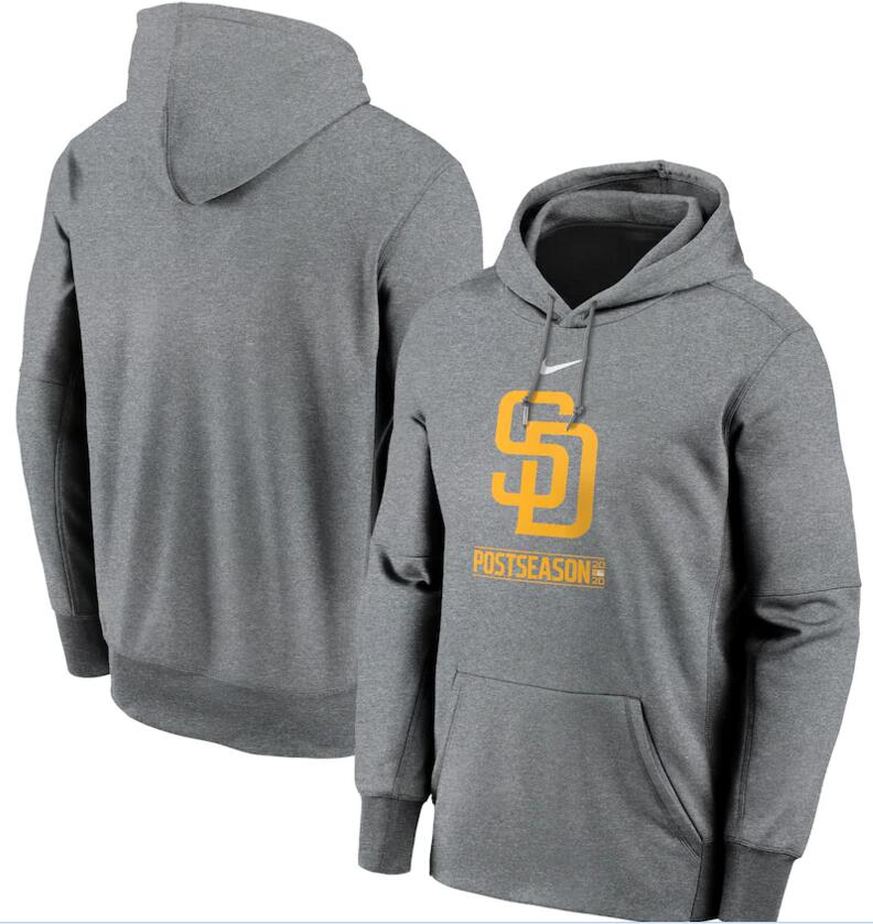 Men's San Diego Padres Nike Gray 2020 Postseason Collection Pullover Hoodie