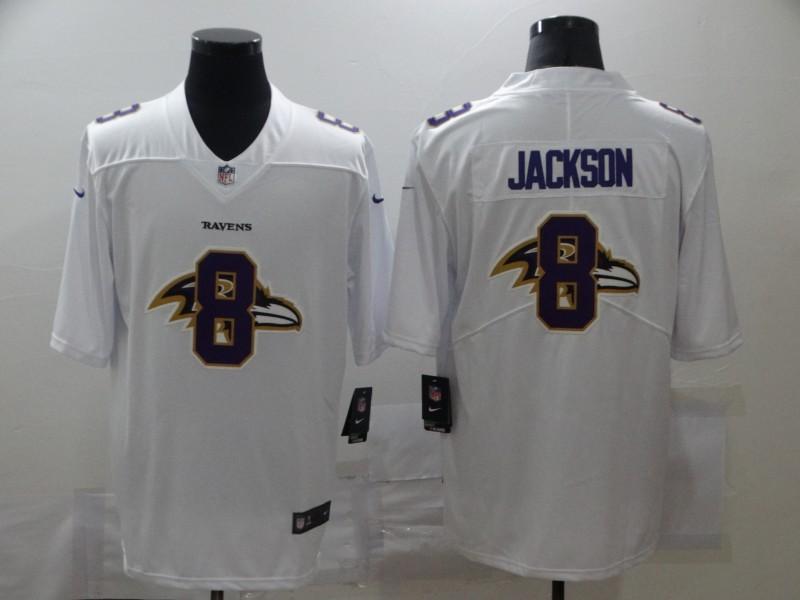 Nike Ravens 8 Lamar Jackson White Shadow Logo Limited Jersey