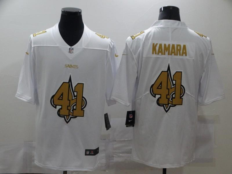 Nike Saints 41 Alvin Kamara White Shadow Logo Limited Jersey