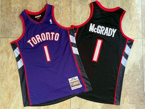 Raptors 1 Tracy McGrady Purple Black 1999-00 Hardwood Classics Jersey