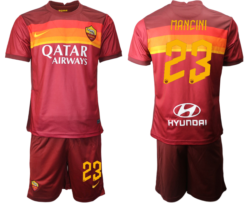 2020-21 Roma 23 MANCINI Home Soccer Jersey