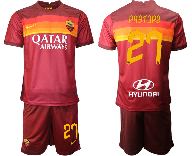 2020-21 Roma 27 PASTORE Home Soccer Jersey