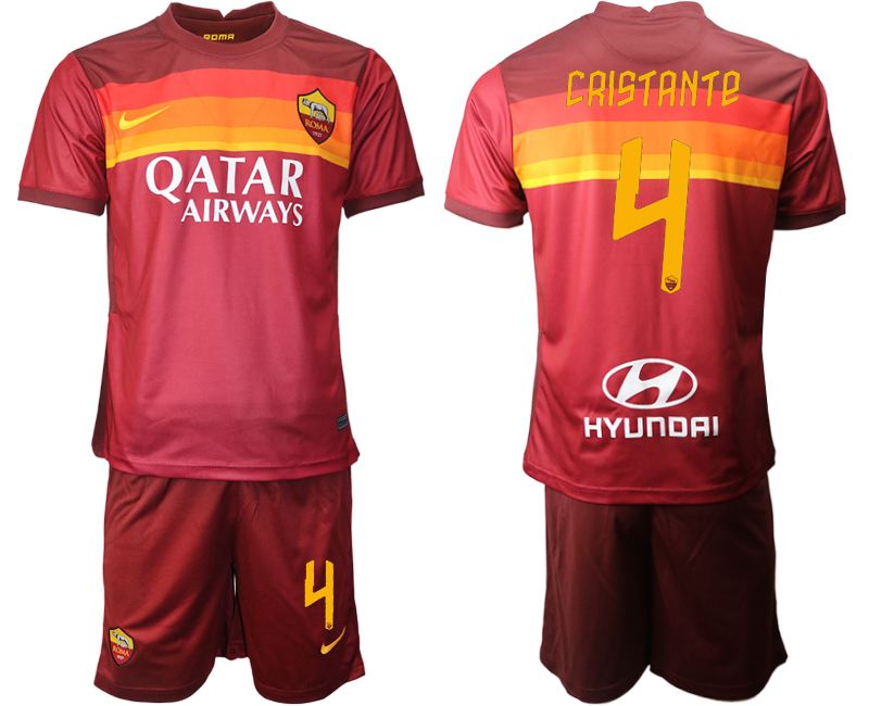 2020-21 Roma 4 CRISTANTE Home Soccer Jersey