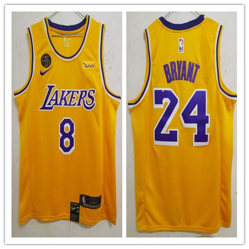 Lakers 24 Kobe Bryant Yellow KB Patch Swingman Jersey